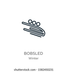 Bobsled icon. Thin linear bobsled outline icon isolated on white background from winter collection. Line vector sign, symbol for web and mobile