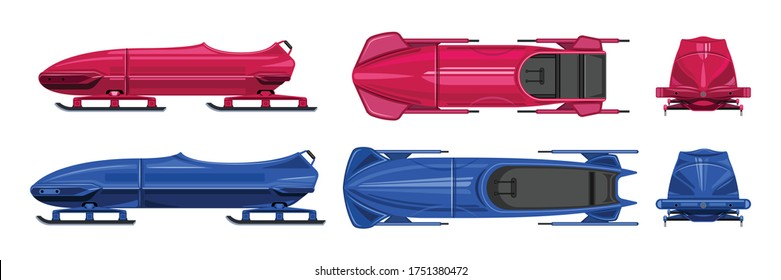 Bobsled isolated cartoon set icon.Vector illustration illustration bobsleigh on white background .Cartoon vector set icon bobsled.