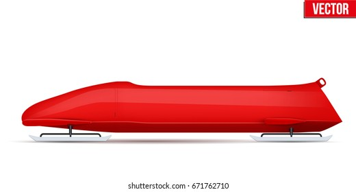 Bobsled Sport Symbol. Classic red sleighs for four athletes. Side view. Sporting equipment for Bobsleigh and Skeleton. Vector Illustration isolated on white background.