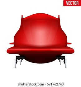 Bobsled Sport Symbol. Classic red sleighs for four athletes. Front view. Sporting equipment for Bobsleigh and Skeleton. Vector Illustration isolated on white background.