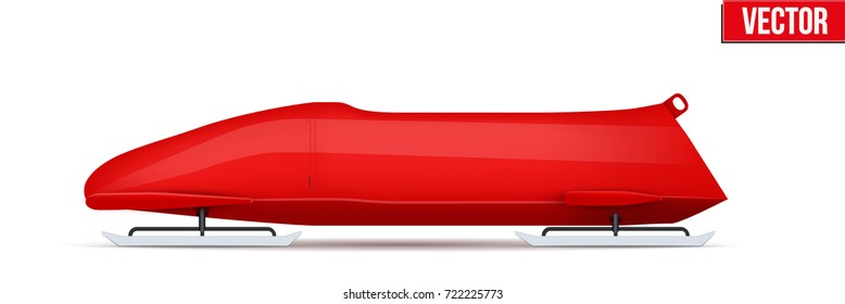 Bobsled Sport Symbol. Classic red sleighs for two athletes. Side view. Sporting equipment for Bobsleigh and Skeleton. Vector Illustration isolated on white background.