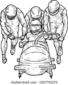 A bobsled team pushing a sled. Hand drawn vector illustration.