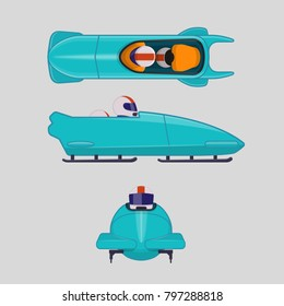 Bobsleigh or bobsled for two athletes. Vector illustration inin flat style