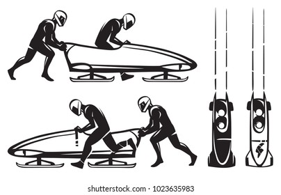 Bobsleigh Double. Two athletes and bobsled. Hand drawn illustration.