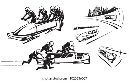 Bobsleigh and four athletes. Hand drawn illustration