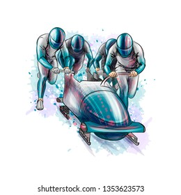 Bobsleigh for four athletes from splash of watercolors. Sports equipment for the bobsleigh race. Winter sport. Vector illustration.