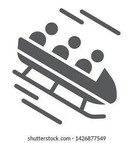 Bobsleigh glyph icon, sport and winter, bobsled sign, vector graphics, a solid pattern on a white background, eps 10.