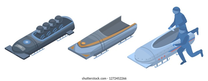 Bobsleigh icon set. Isometric set of bobsleigh vector icons for web design isolated on white background