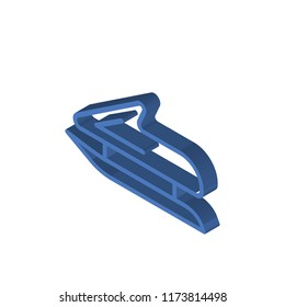 Bobsleigh isometric left top view 3D icon