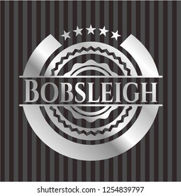 Bobsleigh silvery emblem or badge