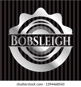 Bobsleigh silvery emblem or badge. Vector Illustration. Mosaic.