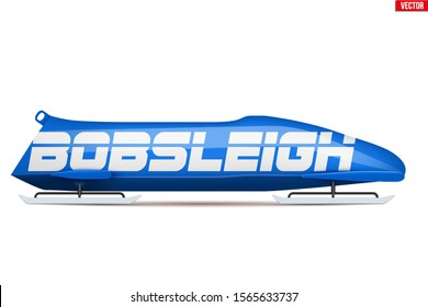 Bobsleigh Sport Symbol. Classic bob sleighs. Side view and blue color. Sporting equipment for Bobsled and Skeleton. Vector Illustration isolated on white background.