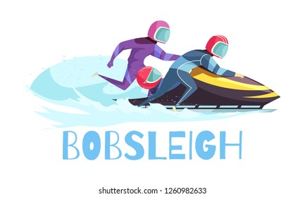 Bobsleigh sports concept with training and championship symbols flat vector illustration