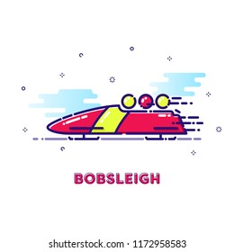 Bobsleigh sports illustrations with mbe style vector and cute color
