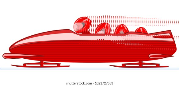 Bobsleigh, vector image.