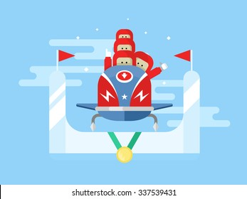 Bobsleigh winter sport. Competition game, extreme speed, sled vector illustration