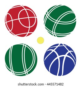 Bocce Ball color Set Icon -  Petanque Vector