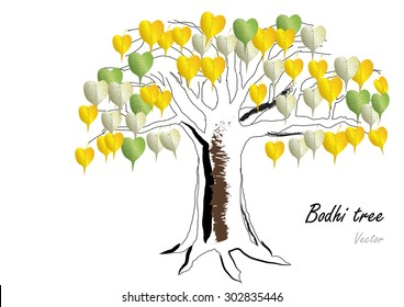 Bodhi tree gold,green,silver leaves on white background vector illustration