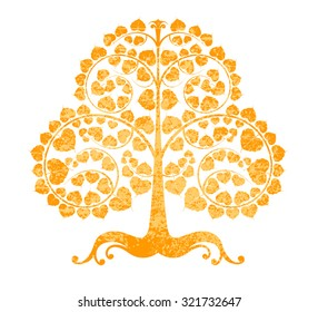 Bodhi tree grunge style on a white background
