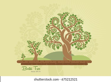 Bodhi tree (Sacred tree, Ficus religiosa L.) is a symbol that uses Buddhism. vector illustration