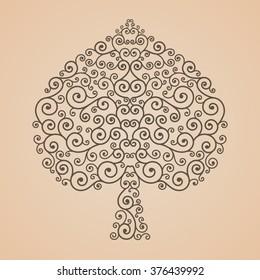 Bodhi tree shape, Abstract line vector tree