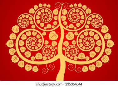 Bodhi tree,contemporary art pattern on a red background