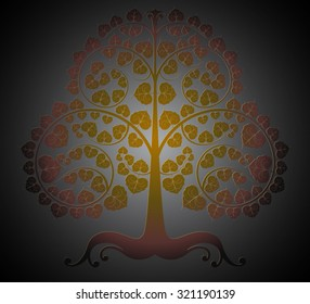 Bodhi trees color on a gray vector abstract background