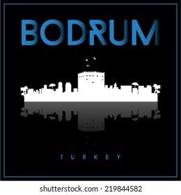 Bodrum Turkey, skyline silhouette vector design on black background.