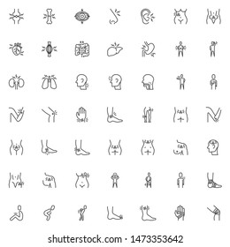 Body ache line icons set. linear style symbols collection, outline signs pack. vector graphics. Set includes icons as joint injury, organs pain, headache, illness symptoms, eyes sore, muscle spasm