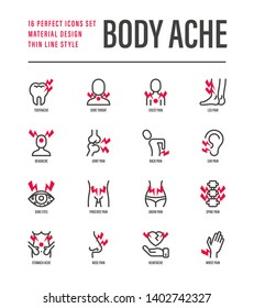 Body ache thin line icons set. Toothache, heart attack, headache, joint pain, arthritis, osteoporosis, stomachache, menstrual pain. Vector illustration.