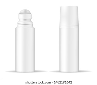 Body antiperspirant deodorant roll-on, open and closed blank white bottle with screw cap. Realistic vector mockup.