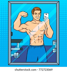 Body builder guy is making selfie in the mirror pop art retro vector illustration. Comic book style imitation.