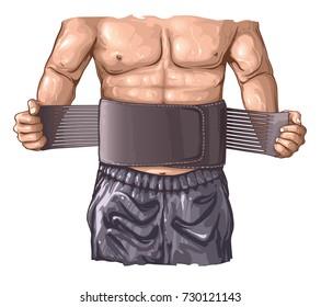 Body builder wearing fitness belt