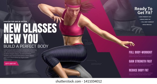 Body building class with dancing woman in 3d illustration