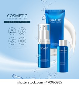 Body care product poster, 3D illustration cosmetic package set in blue isolated on blue background