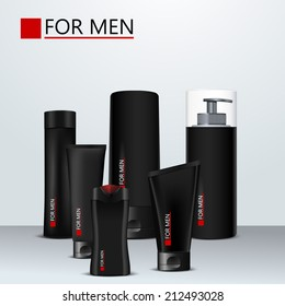 Body care products for men. Vector set.  Black  design plastic package with red element decorations. Shampoo, shaving foam, shaving gel, men's perfume, cream, deodorant.