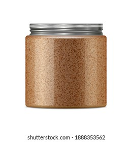 Body coffee sugar scrub jar template. Realistic round container from transparent plastic with trendy metal aluminium cap. Skin care cosmetic product mockup isolated on white background.