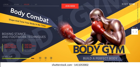 Body combat website design with strong boxer throwing hook in 3d illustration, grey and yellow tone