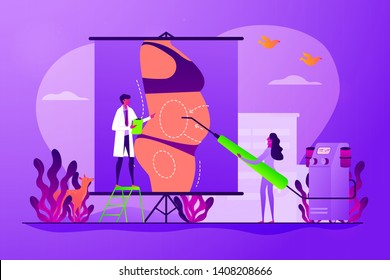 Body contouring, coolsculpting reconstruction. Surgeon and nurse characters consulting patient. Liposuction, lipo procedure, fat removal surgery concept. Vector isolated concept creative illustration