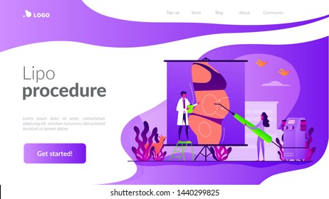 Body contouring, coolsculpting reconstruction. Surgeon and nurse characters consulting patient. Liposuction, lipo procedure, fat removal surgery concept. Website homepage header landing web page