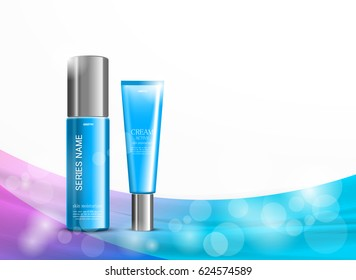 Body cream cosmetic ads template with blue realistic bottles on wavy shiny colorful lines background. Vector illustration