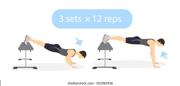 Body exercise for men on white background. Crossfit and fitness. Workout with bench. Push ups with legs raised. Exercise for men.