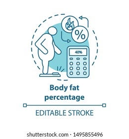 Body fat level control concept icon. Overweight patient on scales idea thin line illustration. Person suffering from obesity. Fat percent calculator. Vector isolated outline drawing. Editable stroke