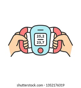 Body fat monitor color icon. Weight loss measurement. Composition analyzer. Fitness equipment. Portable medical device. Visceral fat level, body mass index evaluation. Isolated vector illustration