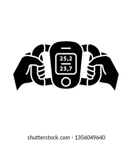 Body fat monitor glyph icon Weight loss measurement. Portable composition analyzer. Visceral fat level, body mass index evaluation. Silhouette symbol. Negative space. Vector isolated illustration