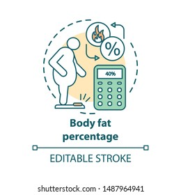 Body fat percentage check concept icon. Obese patient on scales idea thin line illustration. Person suffers from extraweight. Calculating fat percent. Vector isolated outline drawing. Editable stroke