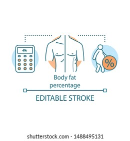 Body fat percentage concept icon. Fit versus obese body idea thin line illustration. Patient suffering from extraweight. Calculating fat percent. Vector isolated outline drawing. Editable stroke