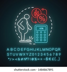 Body fat percentage neon light concept icon. Patient suffering from extraweight idea. Calculating fat percent. Glowing sign with alphabet, numbers and symbols. Vector isolated illustration