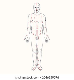 Body (front) acupuncture scheme with red points, hand drawn doodle, sketch in pop art style, black and white medical vector illustration