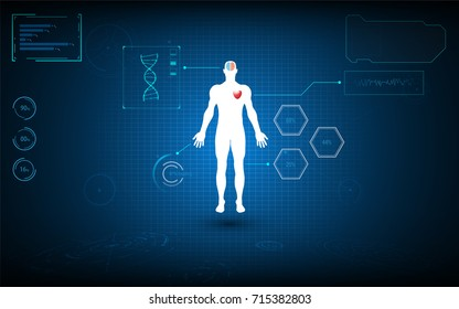 body human scanning with hud artificial intelligence design biotechnology innovation concept  background